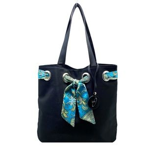 Black Nylon Tote Bag w/ Teal Paisley Scarf Accent